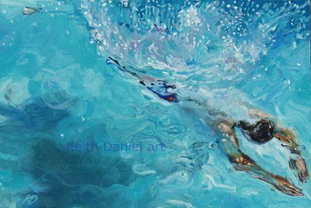 Summers deep dive- Oil on canvas- 120 x 80 cm-   Keith Daniel