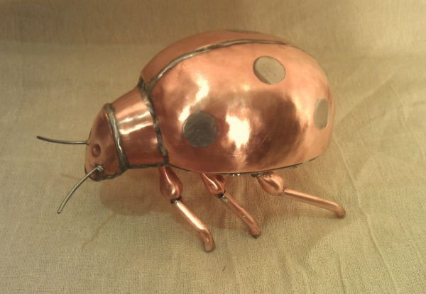 Copper Insect Sculptures, to include Bees, Ants, Moths Butterflies etc sculpture by artist John Parker titled: 'Copper Ladybird'
