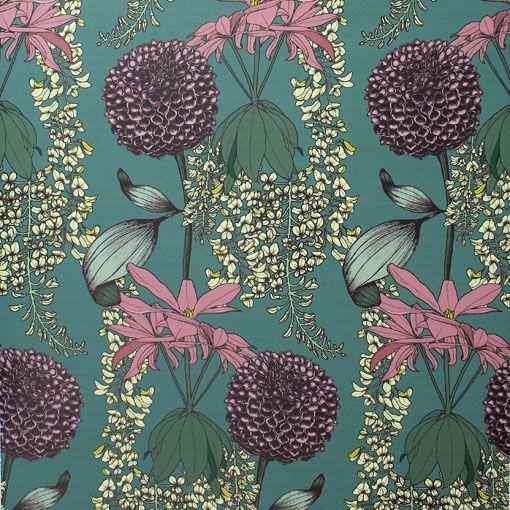 Laburnum Teal Wallpaper | Abigail Borg