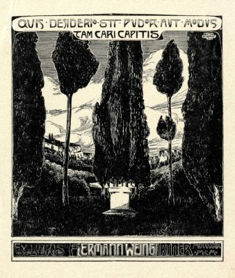 Bookplate by Botho Robert Schmidt for Hermann Weingärtner, 1903