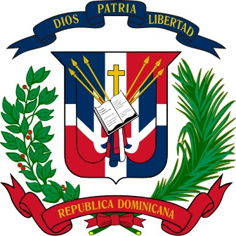 Coat of arms of the Dominican Republic.  The Dominican Republic has the ninth largest economy in Latin America and the second largest economy in the Caribbean and Central American region.  Both by area and population, the Dominican Republic is the second largest Caribbean nation (after Cuba), with 48,442 square kilometres (18,704 sq mi) and an estimated 10 million people.
