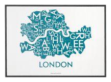 Kaart van Londen door Kortkartellet