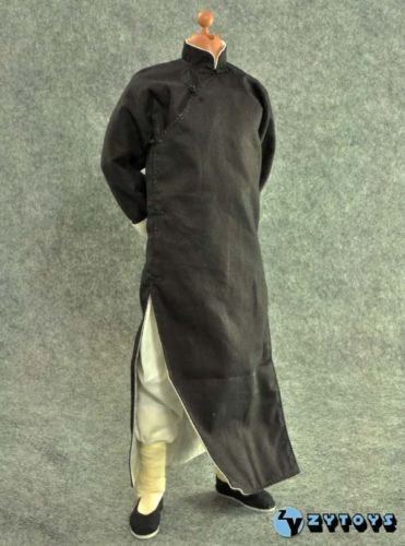 1-6-ZY-Toy-Soldier-Model-Clothes-Chinese-Kung-Fu-Master-Costume-Black-Long-Robe