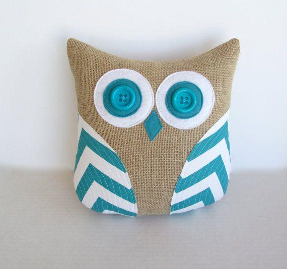 turquoise chevron pillow decorative burlap par whimsysweetwhimsy, $36.00