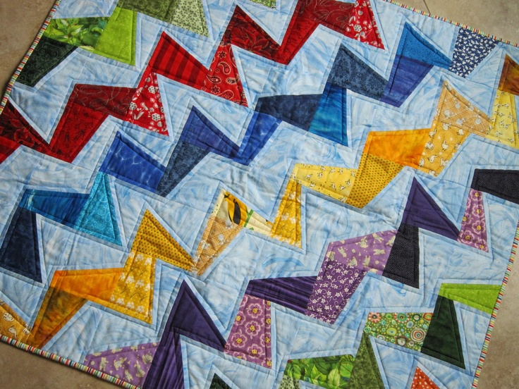 Wonky Zig Zag Colorful and Bright Quilt Wall Hanging -- from Quilts by Elena