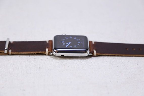 **PLEASE NOTE: This listing is for the apple watch band only, watch not included.** This handmade apple watch band features Horween Color 8 Chromexcel leather and a minimal stitch style. Each Apple watch band kit comes with the Horween leather strap, 2 Apple watch adapters and a pentalobe
