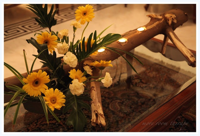 center piece with wood log