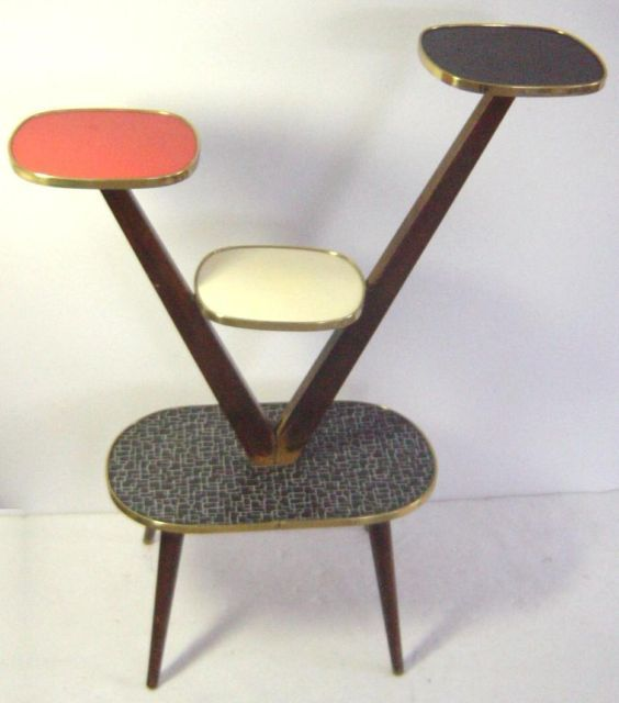 Charming Atomic Age Eames Era Multicolour Plant Display Table  DROOL.