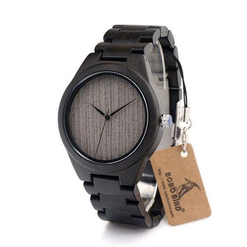 Black Bird II - Men's Black Wood Analog (No Dial) Wristwatch