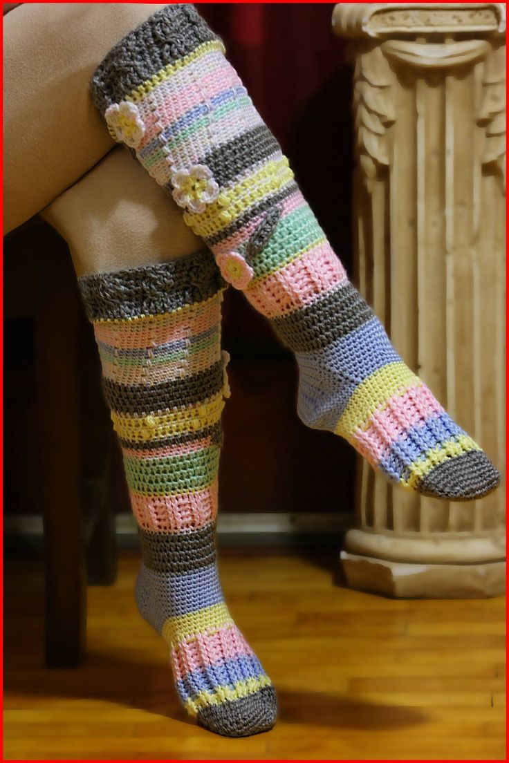 Knee-High Socks By Nadia Fuad - Free Crochet Pattern - (yarnutopia)