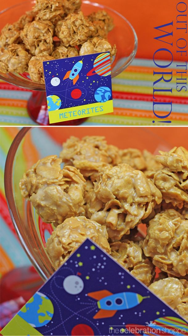 """""""Out of this World"""" meteorite cornflake candy balls perfect for a space birthday party!"""