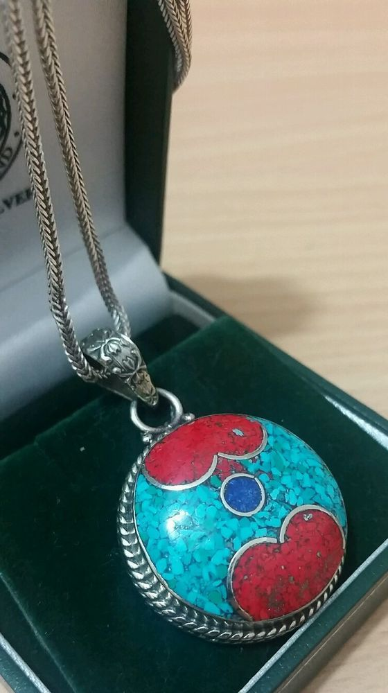 VINTAGE SILVER NATIVE AMERICAN STYLE PENDANT WITH TURQUOISE CORAL & LAPIS LAZULI in Jewellery & Watches, Fine Jewellery, Fine Necklaces & Pendants | eBay
