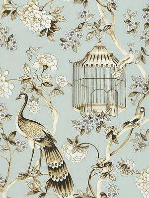 DecoratorsBest - Detail1 - Sch 5004080 - Oiseaux et Fleurs - Mineral - Wallpaper - Fabrics - DecoratorsBest