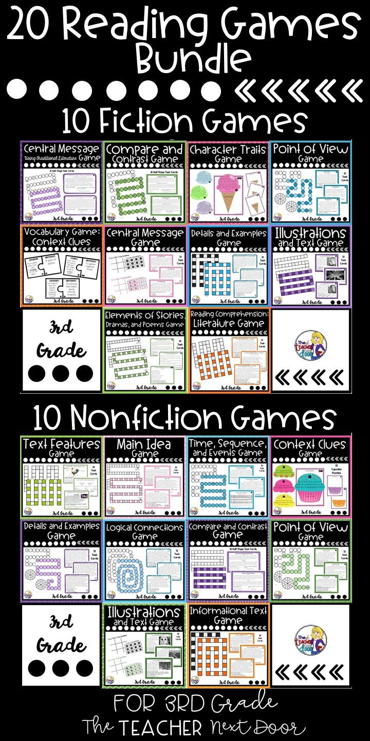 - Reading Games: Fiction And Nonfiction Bundle Reading Centers For