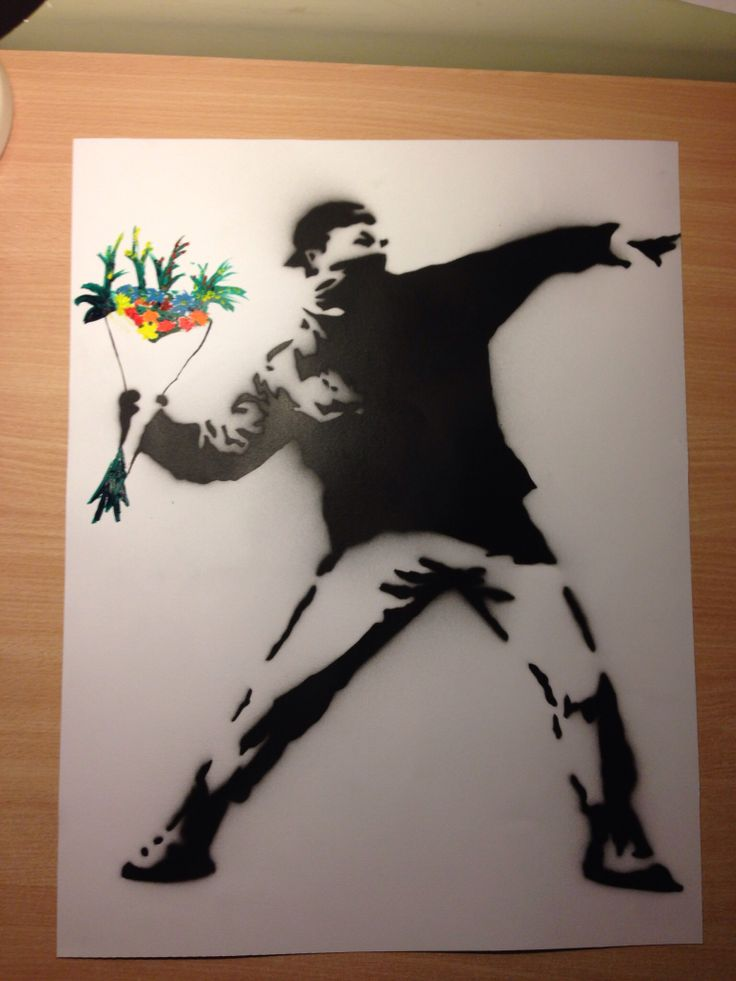 Bansky graffiti stencil