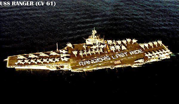 USS Ranger (CV 61)  Final cruise.   http://www.hazegray.org/navhist/carriers/images/usa/cv61-1.jpg