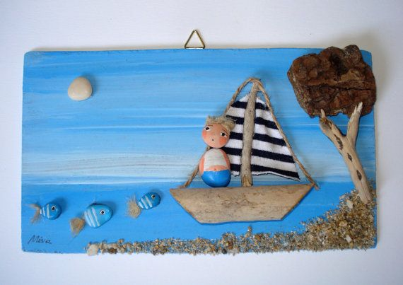 Freedom - Unique beach pebble art. Freedom is made using pebbles from beautiful beaches along Adriatic sea in Croatia and are attached with great love and care on hand painted wooden board. The overall dimensions are approx. 10 cm (4 inch) x 17 cm (6.7 inch)  All items are carefully packaged to ensure they reach you in good condition.  You can buy it for yourself or as a gift for a loved one, this piece will be a treasured item for years to come!  Thank you very much for looking at my work