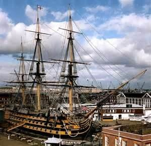 HMS Victory.  The HMS Victory is a 104-gun first-rate ship of the line of the Royal Navy, laid down in 1759 and launched in 1765.  She is most famous as Lord Nelson's flagship at the Battle of Trafalgar in 1805.  In 1922 she was moved to a dry dock at Portsmouth, England, and preserved as a museum ship. She is the flagship of the First Sea Lord and is the oldest naval ship still in commission.