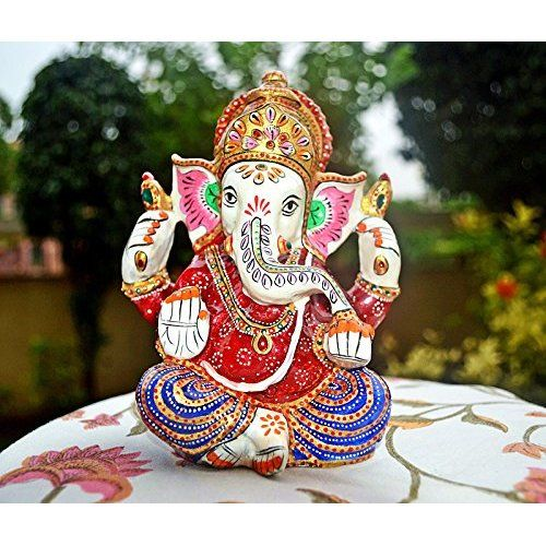 APKAMART Handcrafted Lord Ganesh Statue - With Chakra - Religious Artifact cum Showpiece Figurine for Home Decor, Room Decor and Gifts - 17 Inch