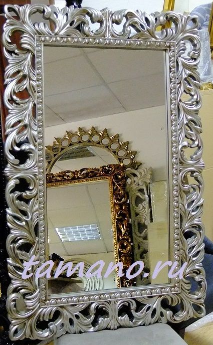 Настенное зеркало в серебряной раме заказать с доставкой в интернет магазине Тамано.ру
