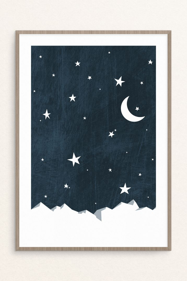 Night Sky Print Moon And Stars Nursery Printable Wall Art Etsy Stars Nursery Decor Star Nursery Moon Stars Nursery