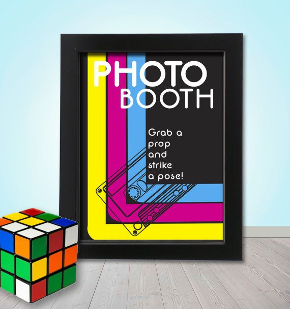 80's Photo booth Party Props Sign  PRINTABLE  by TheQuirkyQuail