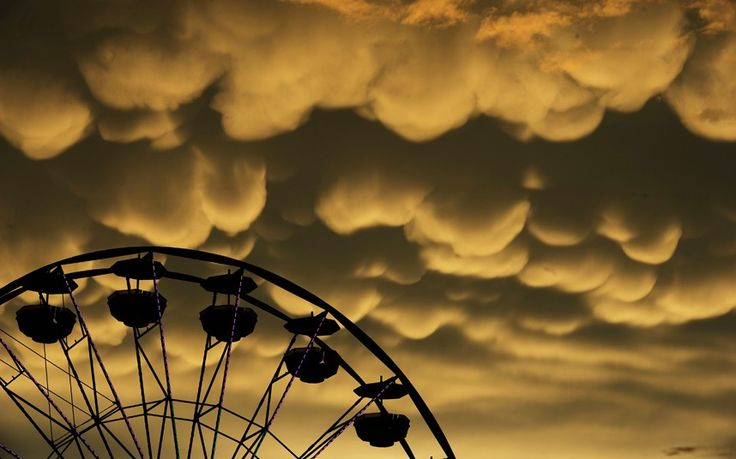 Mammatus clouds move over the Fredericksburg Agricultural Fair after a round of thunderstorms passed through the area. Mammatus are most often associated with severe thunderstorms.Picture: Peter Cihelka/The Free Lance-Star/AP