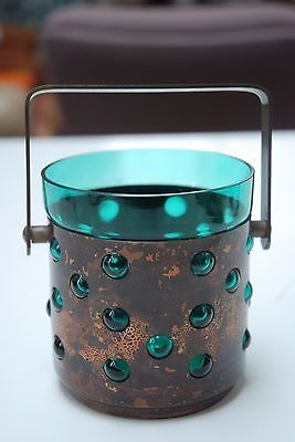 Vintage-scandinavian-green-glass-and-copper-ice-bucket-Nanny-Still-era-and-style