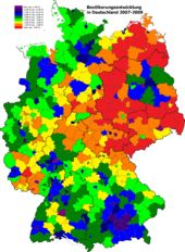 Change of population by districts between 2007 and 2009, highlighting the continued depopulation of the former East Germany and the growth of German suburbia | Demographics of Germany - Wikipedia, the free encyclopedia