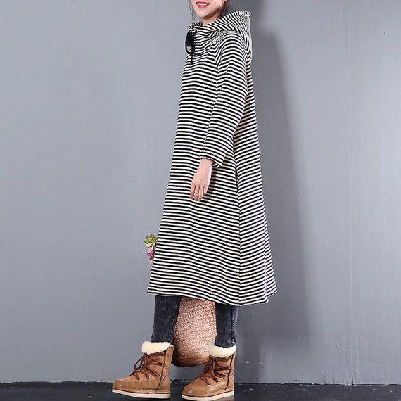 Femme casual sweatershirt coton rayé à capuche robe par Aliceswool