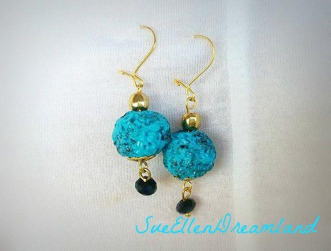 Summer dangle earrings  turquoise lava  imitation beach sun drop earrings polymer clay faux lava handmade bead ,greek shop,OOAK by SueEllenDreamland on Etsy