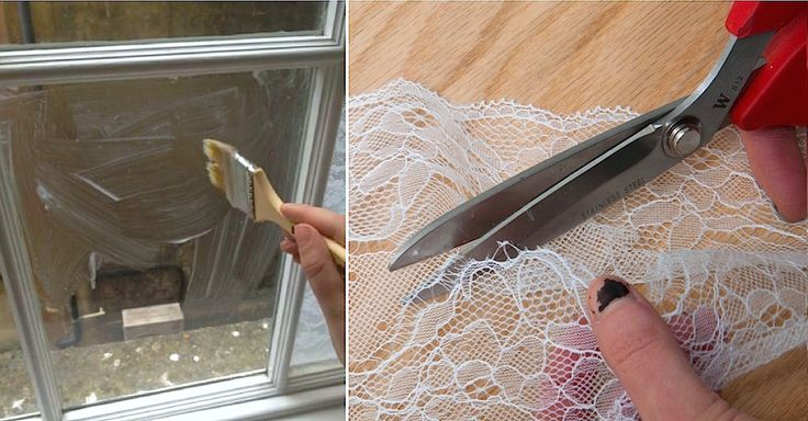 She Transforms Her Bedroom By Brushing Cornstarch On Windows And Putting 'Privacy' Lace On Top via LittleThings.com