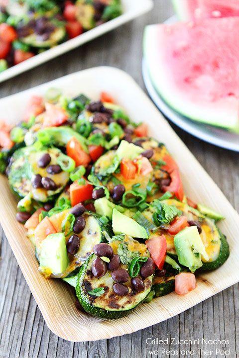Grilled Zucchini Nachos Recipe on twopeasandtheirpod.com Healthy nachos that everyone will love!