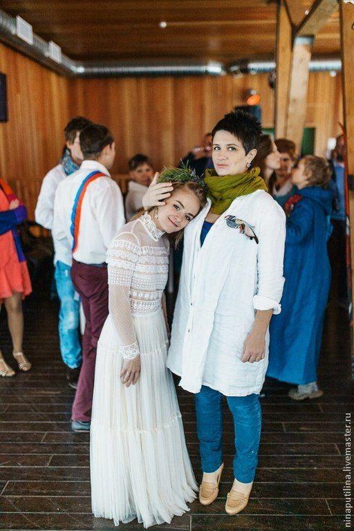 Купить Свадебное платье в бохо-стиле для Алены - бежевый, свадебное платье, свадебное платье бохо