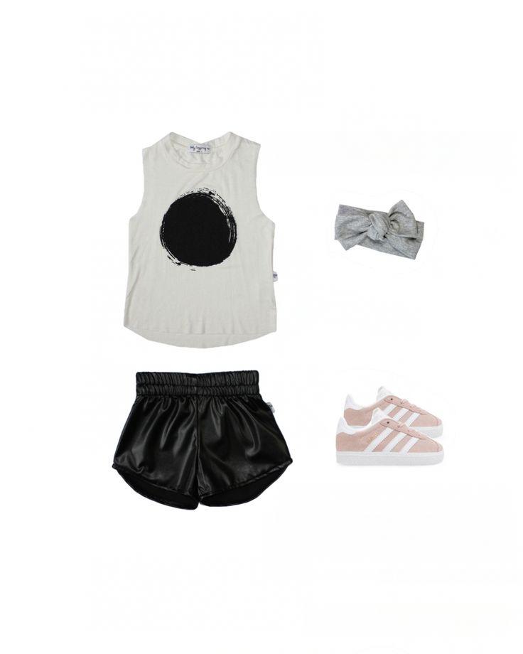Leatherette Kids Shorts - circle singlet - puma girls sneaker - grey headband -