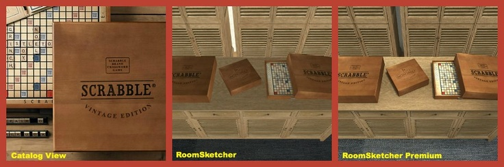 Vintage games from Restoration Hardware - Available in #RoomSketcher floor plan software.  #games #monopoly #scrabble #floorplan  pinned with Pinvolve