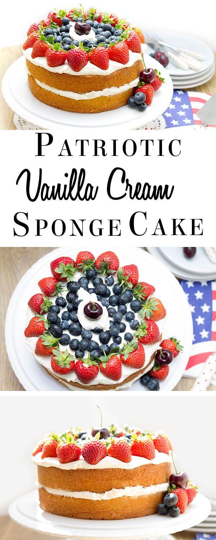 Patriotic Vanilla Cream Sponge Cake #4thofjuly http://livedan330.com/2015/06/20/patriotic-vanilla-cream-sponge-cake/