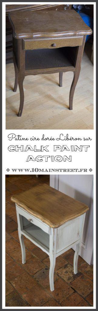 #Patine cire dorée #Libéron sur #chalkpaint #action | vieux #chevet relooké