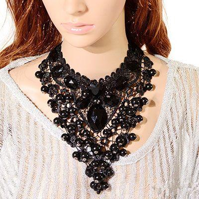 Женское кружевное ожерелье на ленте с бусинами