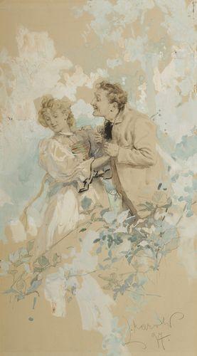 Ludwig MAROLD (1865-1898) L'Amour, 1897 Dessin à l'encre et gouache. 31 x 18 cm