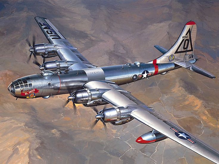 1948 Boeing B-50 strategic bomber - A greatly improved version of the WW2 B-29 'Superfortress'. Only 371 were built.