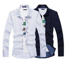 Moda Para Hombre De lujo Informal Calce Ajustado De camisa de mangas largas De estilo Vestir Camisas Tops P