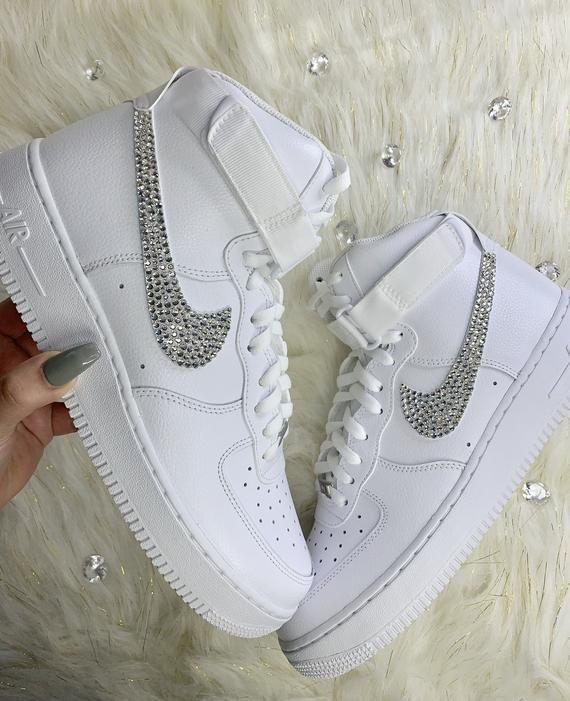 Custom Swarovski Crystal Women's Nike Air Force One High Top ...
