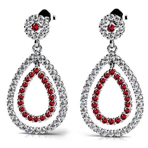 What's a night out without gorgeous sparkle and fire? Take your style to the next level with the Diamond and Ruby Link Earrings in White Gold!  www.brilliance.com