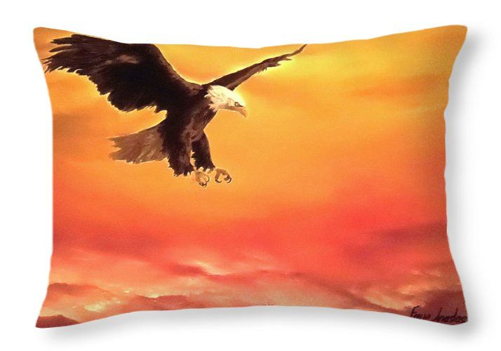 Throw Pillow,  home,accessories,sofa,couch,bedroom decor,cool,beautiful,fancy,unique,trendy,artistic,awesome,fahionable,unusual,gifts,presents,for,sale,design,ideas,orange,eagle,wildlife,sunset,sky