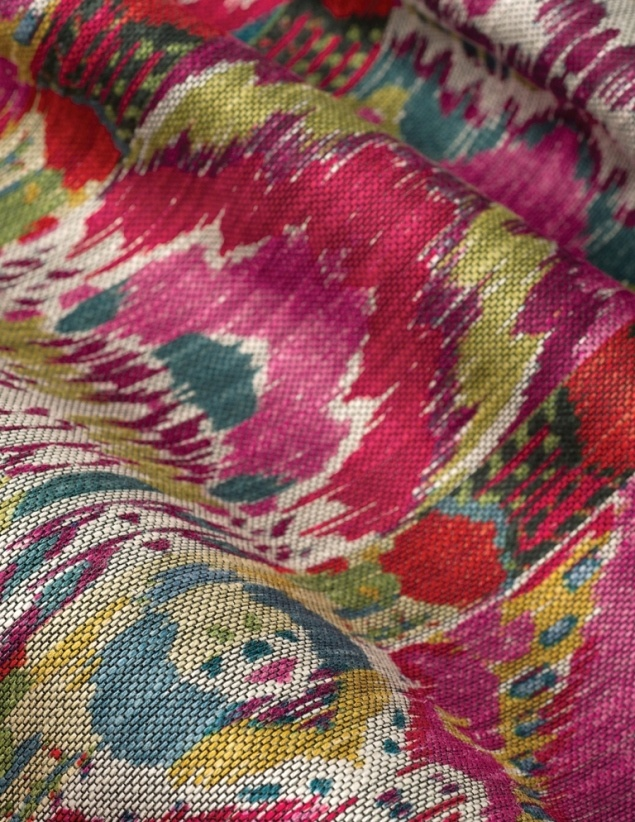 With a dynamic Central Asian ikat design, Vervain's Rythmic evokes a brightly colored repetition suggestive of an intriguing rhythmic sound.
