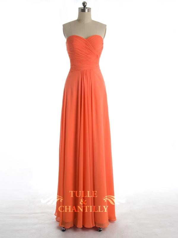 Modest Orange Chiffon Cross Ruched Sweetheart Dress/ prom & bridesmaid