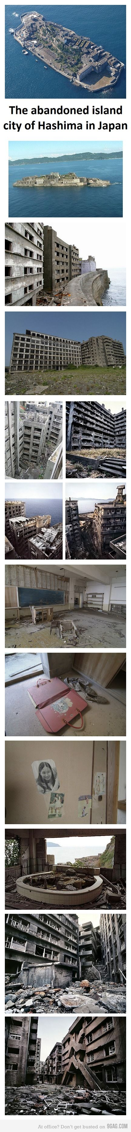 The abandoned island city of Hashima in Japan - it is an interesting read of the blog: http://briandeutsch.blogspot.com/2009/12/japan-pays-korean-comfort-women-99-yen.html