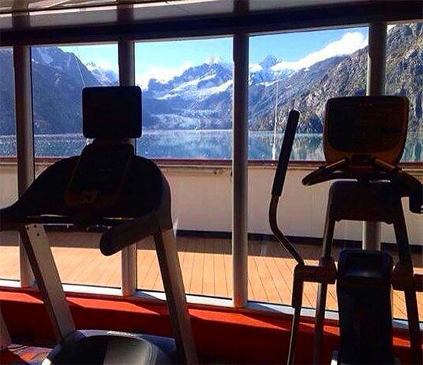 I think I might be inclined to work out with this view from the gym! Holland America Line cruise to Alaska