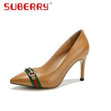 Bombas SUBERRY 2017 Hecho A Mano decoración de La Cadena del dedo del pie Puntiagudo zapatos de tacón alto de cuero zapatos de las mujeres de la marca de lujo(China (Mainland))